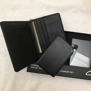 Genuine leather wallet and portable phone charger